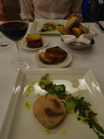 La Varenne: Delicious plates of foie gras and fig terrine served with toasted brioche.