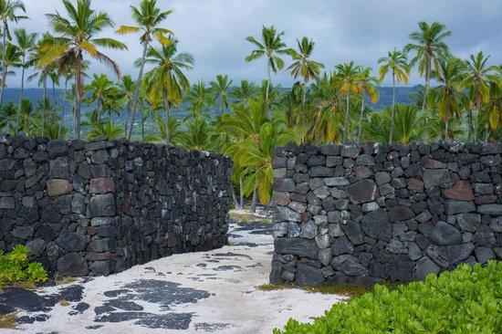 Pu'uhonua O Honaunau National Historical Park : Lava rock dry wall round the refuge