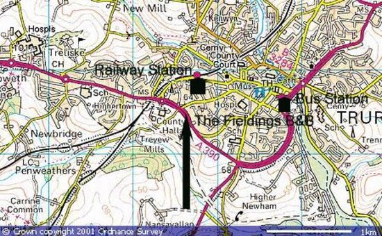 Truro Map showing The Fieldings Picture of BB at the Fieldings