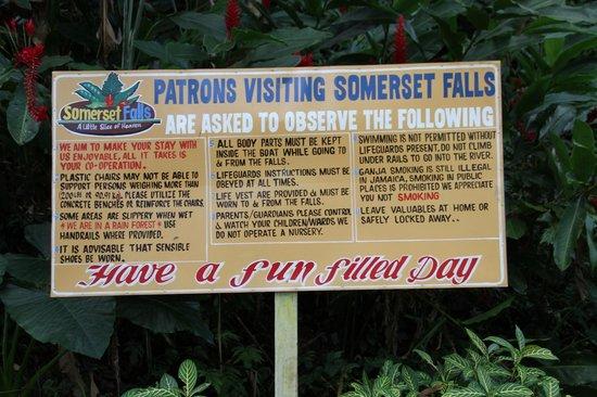 Somerset Falls : entrée site