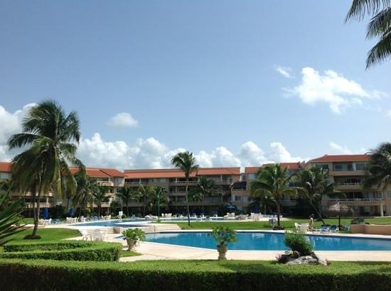 Villas Del Mar: view from patio of unit C-105 towards pool