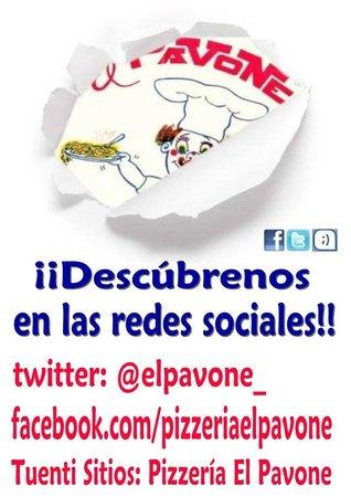 Pizzería El Pavone: Síguenos en facebook y twitter!