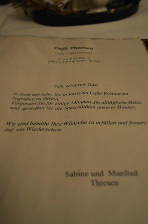 Café Thiesen: Kaart