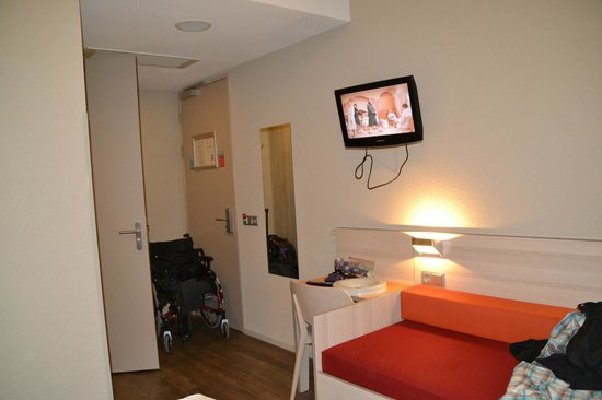 "MEININGER Hotel Amsterdam City West: ""given as an adapted room"" Room is so tiny wheelchair doesn't fit in the room"