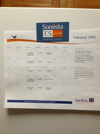 Sonesta ES Suites Houston : A calender with the events for the month.