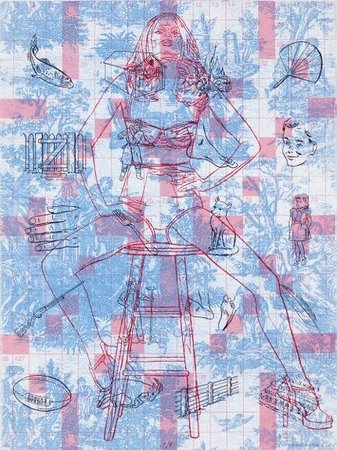 "Corners Gallery: Minna Resnick, ""F/f"", 30"" x 22"", photo collograph and silkscreen, 2010."