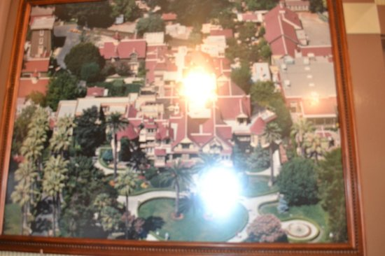 Winchester Mystery House: A map of the house with some pretty bad glare from the flash.