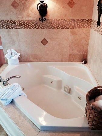 Bayfront Marin House Historic Inn: Our own Jacuzzi! Nice backsplash tile!