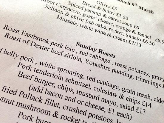Helen Browning's Royal Oak: today's menu