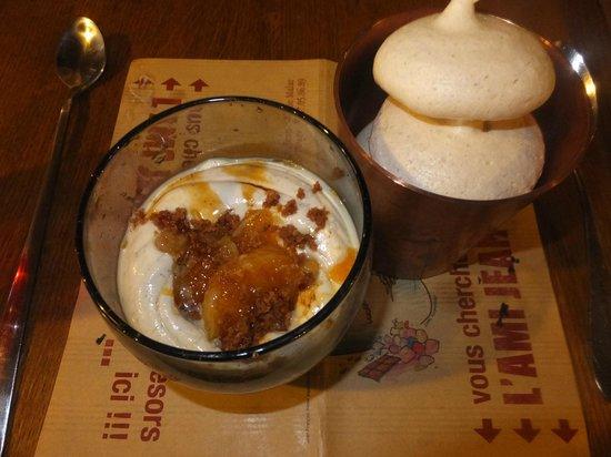 L'Ami Jean: 上は甘めのクリーム系ですが下にはオレンジのジャムみたいなものが入っていてとても美味しいです