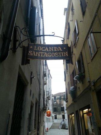 Locanda Sant'Agostin: Hotel sign/street