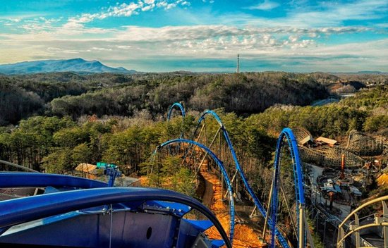 Dollywood: The view from atop the lift hill while riding Wild eagle.