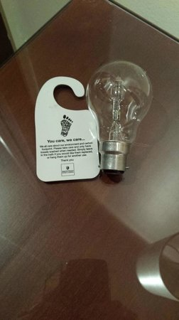 """Macdonald Tickled Trout Hotel: Reduce your carbon footprint. Note to hotel, use more """"Environmentally friendly"""" bulbs"""
