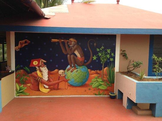 Kaiya House: Beautiful mural on the roof terrace