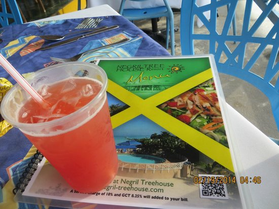 Negril Tree House Resort : Cold Drink and Menu