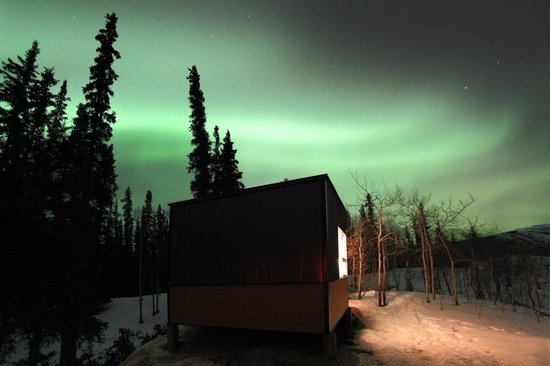 Annie Lake Cabins : Active aurora forecast over Grizzly Cabin where I stayed.
