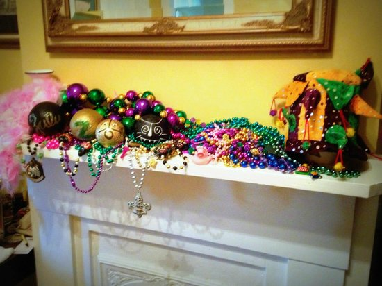 Ashton's Bed and Breakfast: French Quarter Suite Mantle with our ZULU parade haul