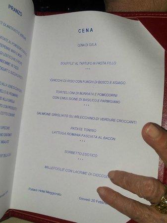 Palace Hotel Meggiorato : menu'