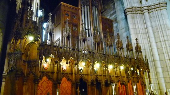 Bangor Cathedral: Choir stalls and Organ Pipes