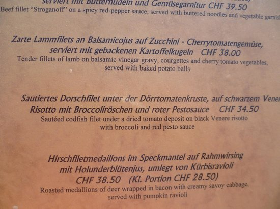 Hotel Spinne Restaurant: part of the menu describing the codfish dish