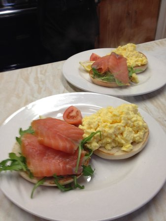 Hoops Coffee Shop: Bagel with scrambled eggs and smoked salmon.
