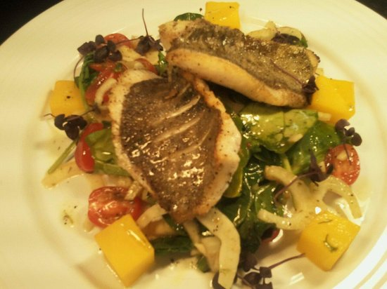 The Carnock Inn: John dory special with saffron potatoes warm salad of fennel tomato and spinnach,  apple and che