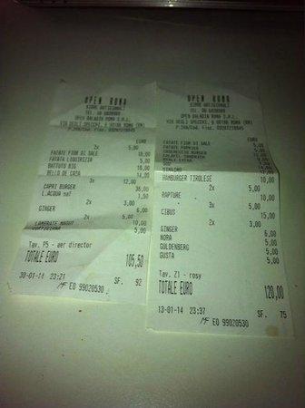 Open Baladin : Il conto con i relativi prezzi delle due volte che sono andata a cena