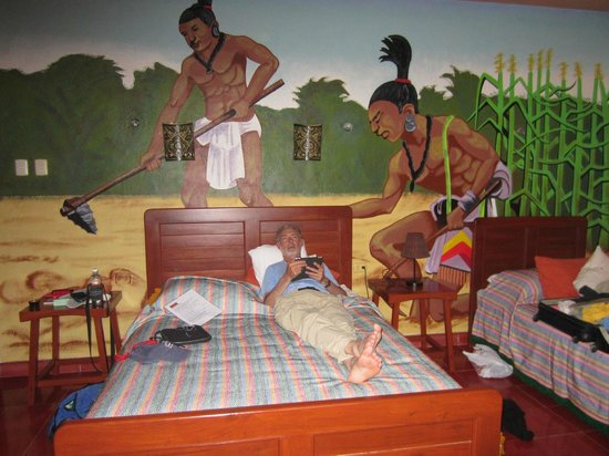 Casa Hamaca Guesthouse: our bedroom was Ka'ab-Na; note the fresco; hammocks also provided!