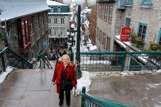 """Old Quebec: At top of """"breakneck steps"""""""