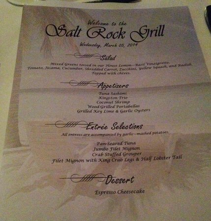 Salt Rock Grill: menu