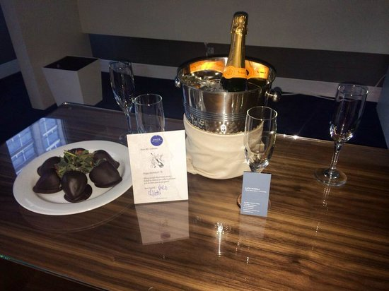 Kinzie Hotel : Spoiled with birthday champagne and chocolate covered strawberries!