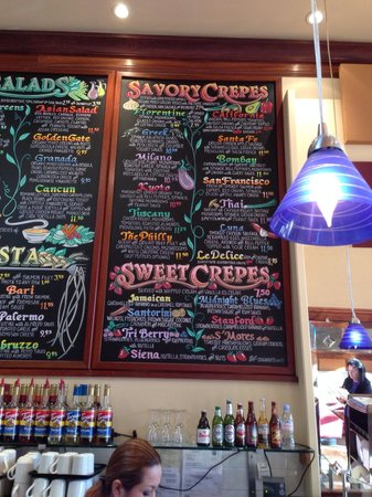 Crepevine: The menu is artfully displayed over the counter