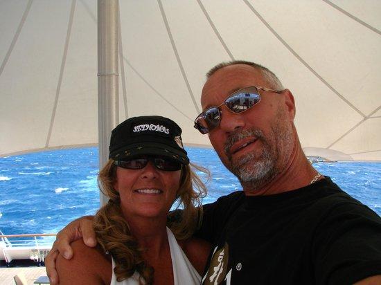 Pelican Adventures: Mark & Heidi saying Hello to Capt. Johan and crew.