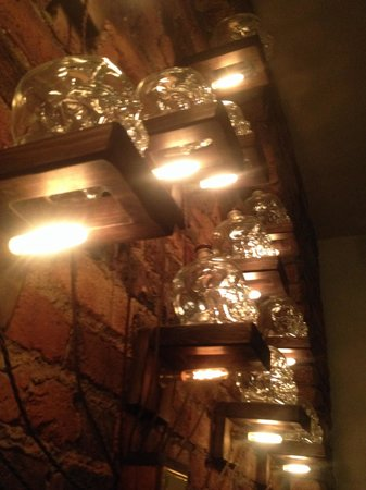 The Priory Bar & Kitchen: Skull bottle light features