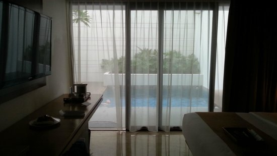 The Magani Hotel and Spa: View from bedroom to the private plunge pool