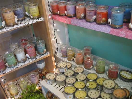 Pure Art Gallery & Gifts: Island scented soy candles by local artists.