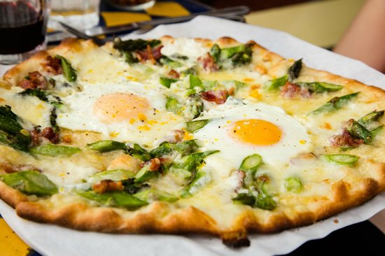 Pizzetta 211: Farm Egg, Asparagus, Bacon, Fontina, Meyer lemon Zest