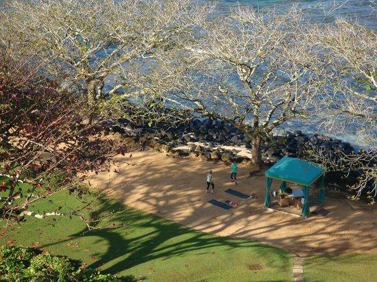 St. Regis Princeville Resort : Yoga on the Beach in Morning
