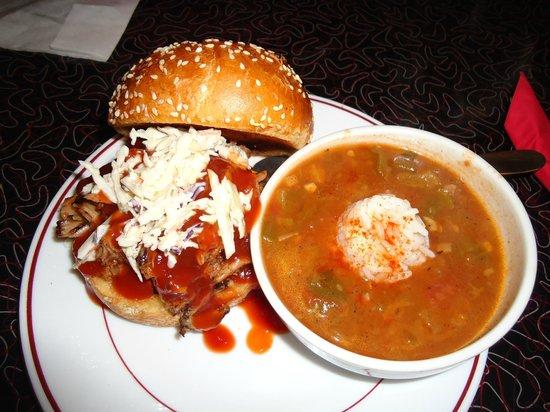 Blues Bar-B-Q: Pulled Porc Sandwich with Louisiana Gumbo