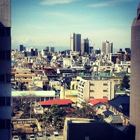 View from out 9th floor hotel room at Hotel Sunroute Higashi Shinjuku