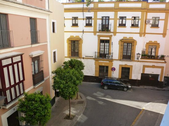 The Boutike Hostel: View of street below from the balcony