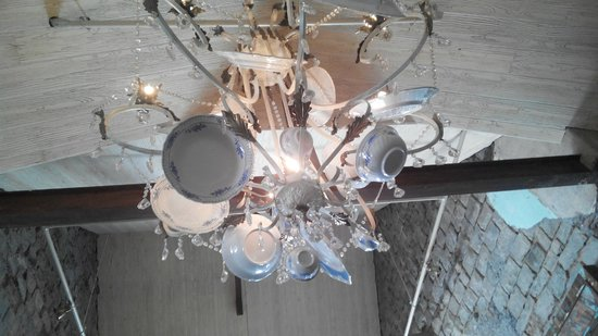 Chandelier made of crockeries - Picture of Olive Bistro, Pune ...