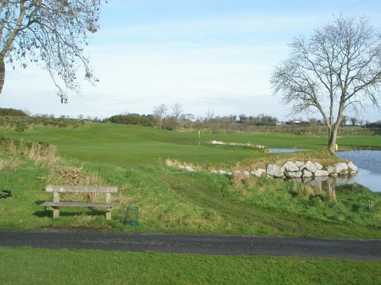 Enfield, Ireland: The 6th green looking from the 18th tee.