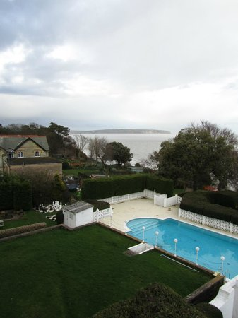 Luccombe Hall Hotel : Pool and IoW coast from room