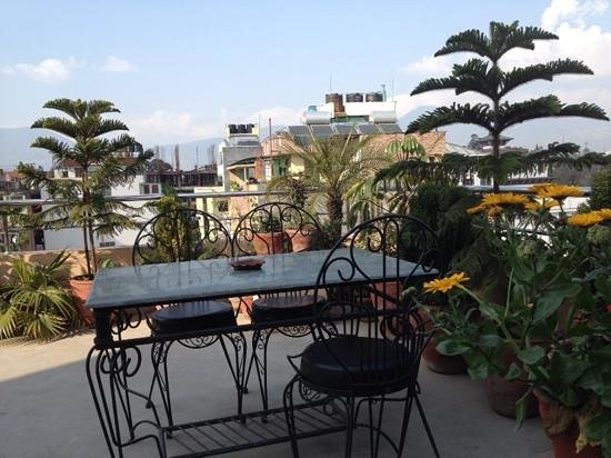 The roof top beer garden at the hotel friends home Nepal