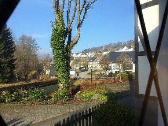 Zum Grubental: zicht op latrop vanuit het hotel
