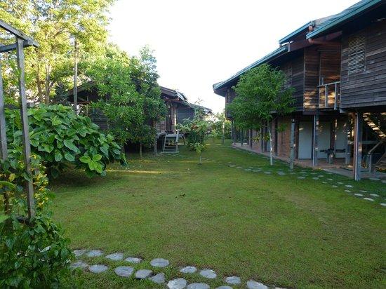 Paganakan Dii Tropical Retreat : Blick auf die Hütten, rechts der Dorm