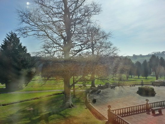 Elfordleigh Hotel: The view from our bedroom.  Lots of rooms overlook the golf course.