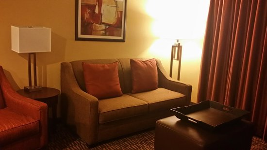 Homewood Suites Tampa Brandon: Nice sitting area with leather ottoman