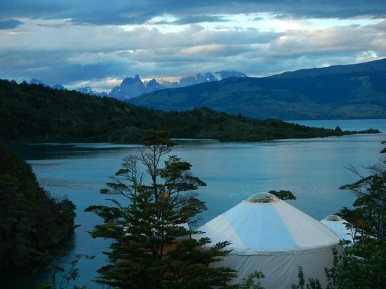 Patagonia Camp: The view of the Paine massif with Lago Torre in the foreground